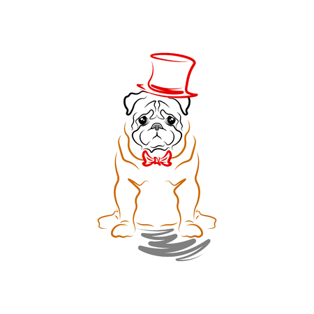 Caricature of a sad dog in a cylinder and a bow tie. Breed pug. Illustration