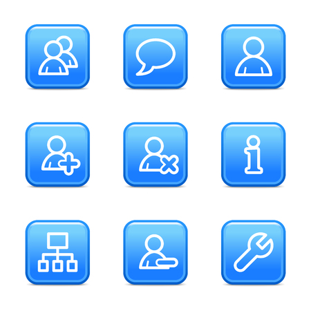 Users web icons, blue glossy buttons series Vector