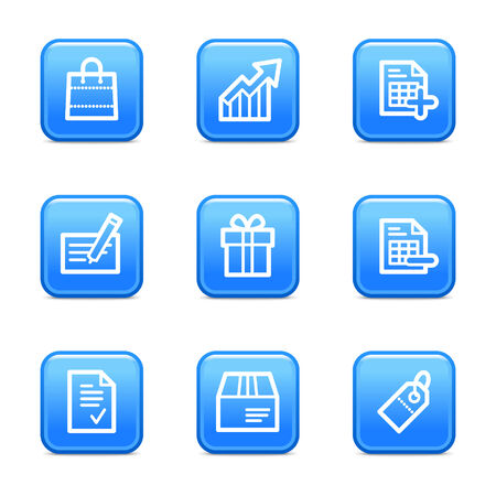 Shopping web icons, blue glossy buttons series Vector