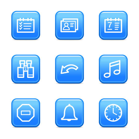 Organizer web icons, blue glossy buttons series Stock Vector - 3571219