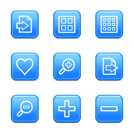 Image viewer web icons, blue glossy buttons series Stock Vector - 3571210