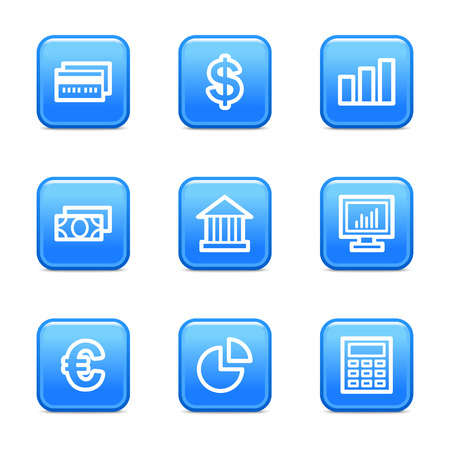 Finance web icons, blue glossy buttons series Vector