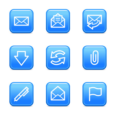 webmail: E-mail web icons, blue glossy buttons series