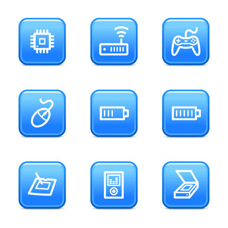 Electronics 2 icons, blue glossy buttons series Stock Vector - 3571227