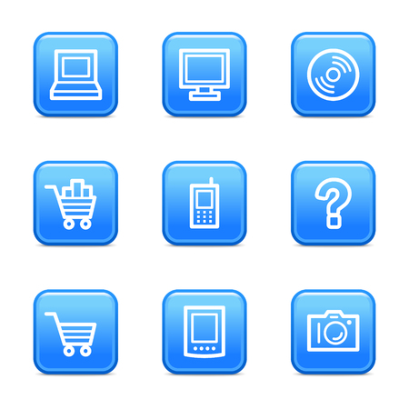 Electronics icons, blue glossy buttons series Vector