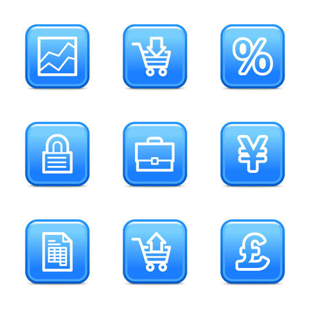 Business icons, blue glossy buttons series Vector