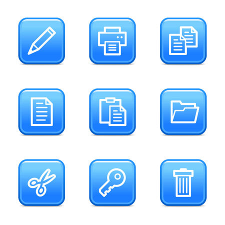 Documents web icons, blue glossy buttons series Vector