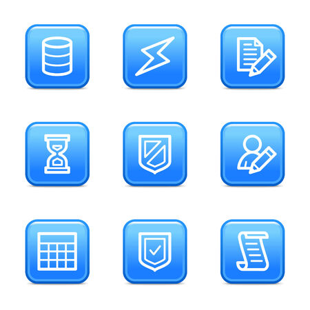 Database icons, blue glossy buttons series Vector
