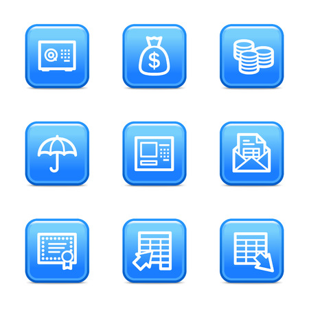 Banking icons, blue glossy buttons series Vector