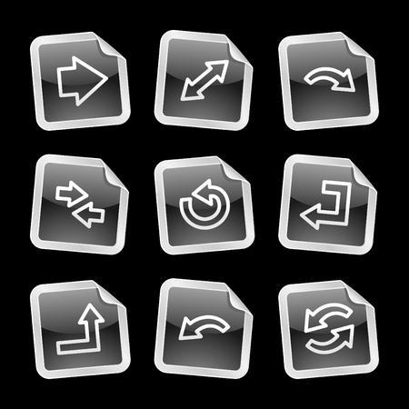 Arrows web icons, black glossy sticker series Vector