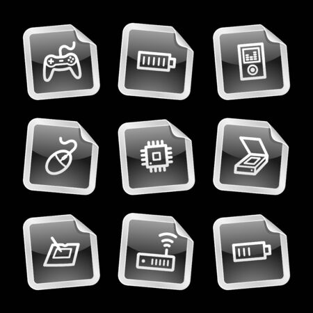 Electronics 2 web icons, black glossy sticker series Vector