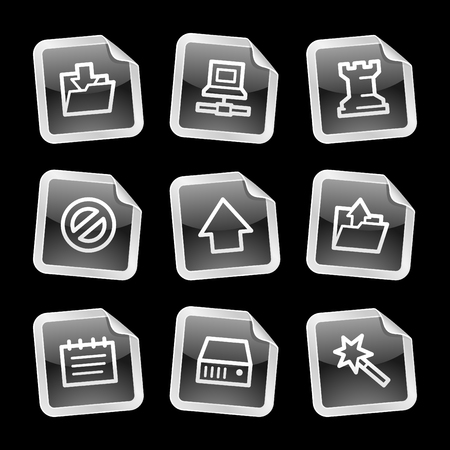 Data icons, black glossy sticker series Vector