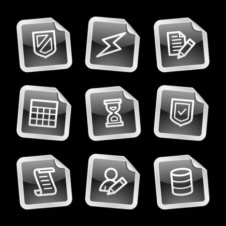 Database icons, black glossy sticker series Vector