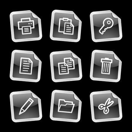 Document icons, black glossy sticker series Vector