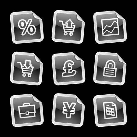 E-business icons, black glossy sticker series Stock Vector - 3585275