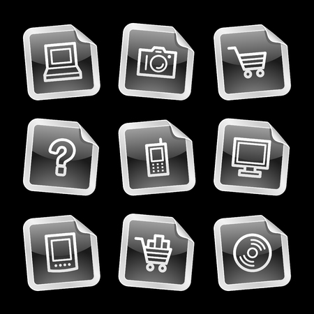 Electronics icons, black glossy sticker series Vector