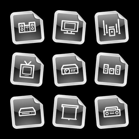 hifi: Hi-fi icons, black glossy sticker series