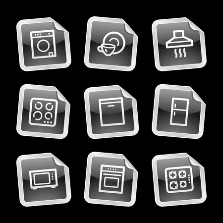 Home appliances icons, black glossy sticker series Stock Vector - 3585276