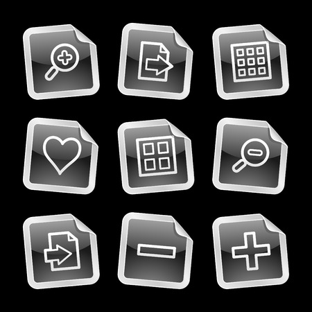 thumbnails: Image viewer icons, black glossy sticker series