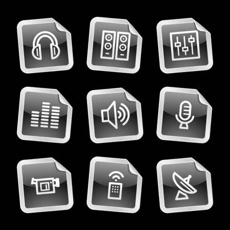 Media icons, black glossy sticker series Vector