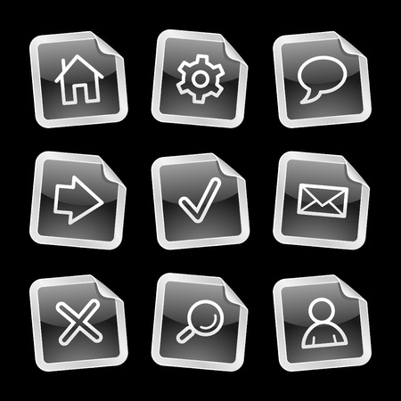 Web icons, black glossy sticker series Vector