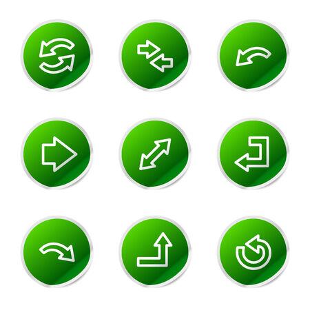 Arrows web icons, green sticker series Vector Illustration