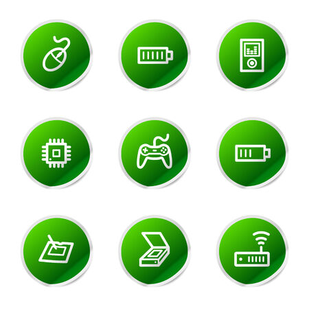 Electronics 2 web icons, green sticker series Stock Vector - 3585253