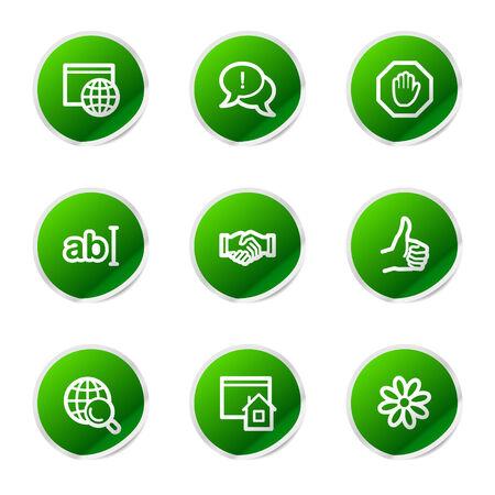 Internet communication web icons, green sticker series
