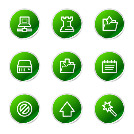 Data icons, green stickers series Vector