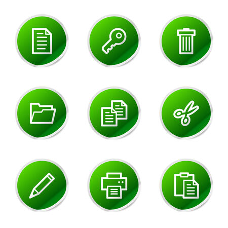 Document icons, green stickers series Vector