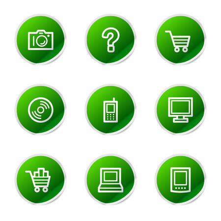 Electronics icons, green stickers series Stock Vector - 3585240