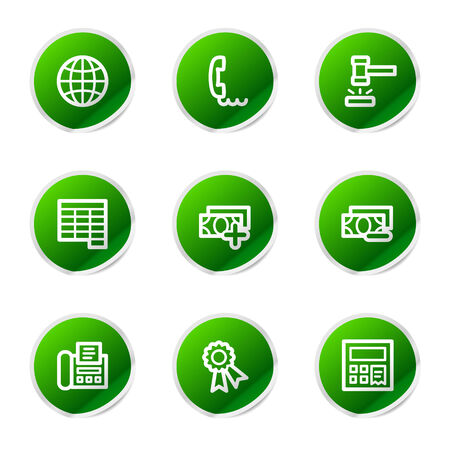 Finance 2 icons, green stickers series Vector
