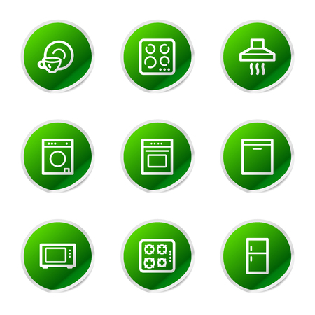 Home appliances icons, green stickers series Vector
