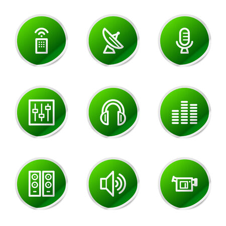 Media icons, green stickers series Stock Vector - 3585250