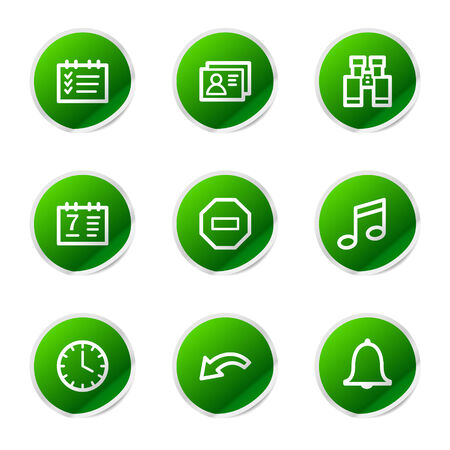 Organizer icons, green stickers series Vector