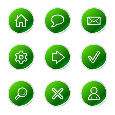 Web icons, green stickers series Vector