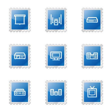 Audio video web icons, blue glossy stamp series Vector