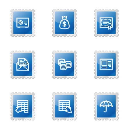 Banking web icons, blue glossy stamp series Vector