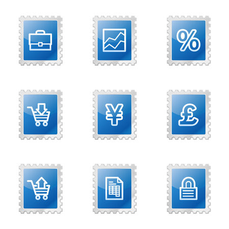 Business web icons, blue glossy stamp series Vector