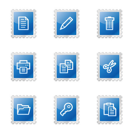 Document web icons, blue glossy stamp series Vector