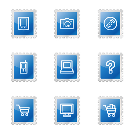 Electronics web icons, blue glossy stamp series Stock Vector - 3585214