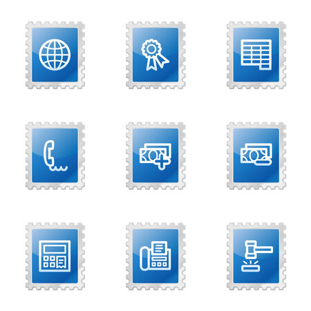 Finance 2 web icons, blue glossy stamp series Stock Vector - 3585231