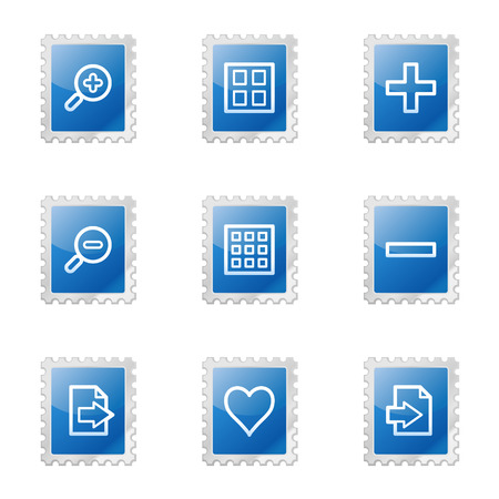 Image viewer web icons, blue glossy stamp series Stock Vector - 3585212