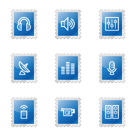 Media web icons, blue glossy stamp series Stock Vector - 3585224