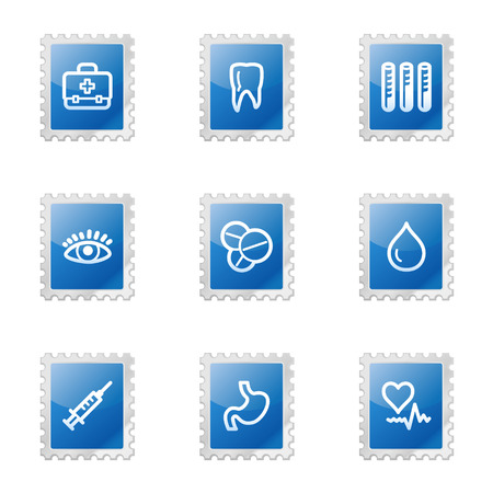 Medicine web icons, blue glossy stamp series Vector