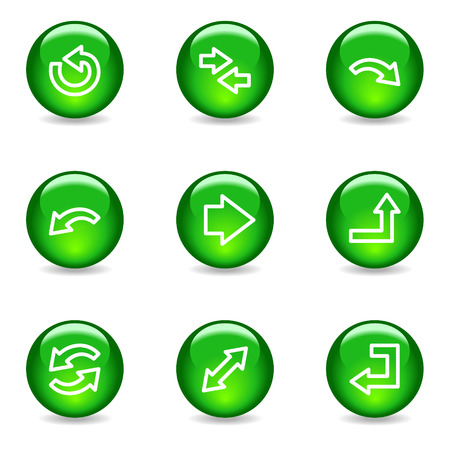Arrows web icons, green glossy sphere series Vector