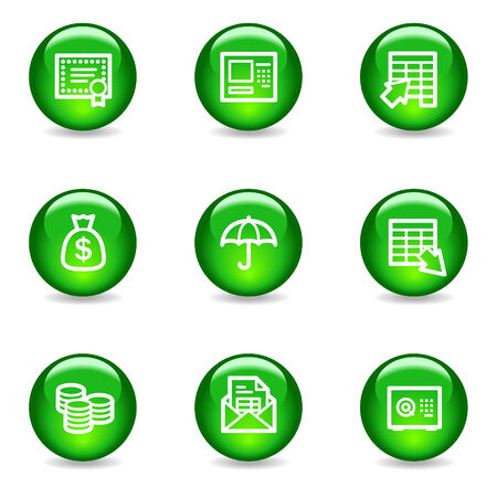 Banking web icons, green glossy sphere series Vector