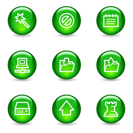 Data web icons, green glossy sphere series Vector