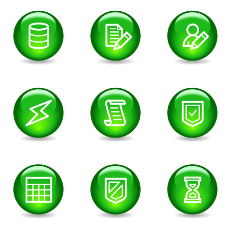 Database web icons, green glossy sphere series Vector