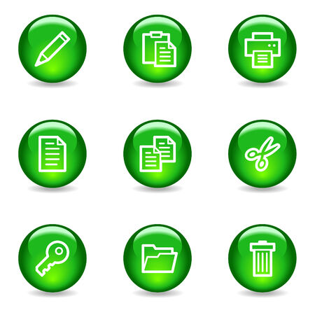 Document web icons, green glossy sphere series Vector